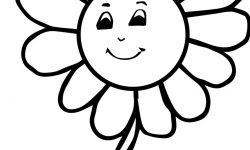 Gülen Sevimli çiçek Boyama Sayfası