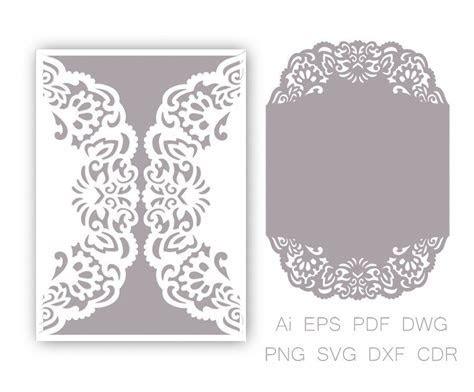 Gate fold Wedding Invitation laser cut Pattern Card