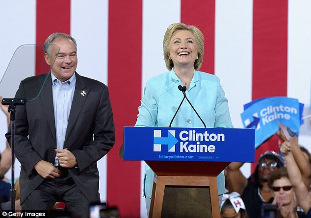 Wikileaks founder Julian Assange has expressed his disagreement with  Clinton (pictured with running mate Tim Kaine in Miami, Florida on Saturday) and doesn't believe she should become the next president