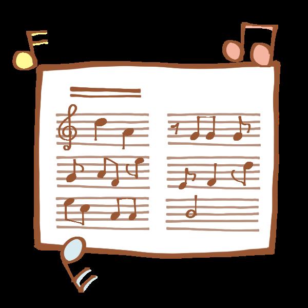 楽譜と音符のイラスト かわいいフリー素材が無料のイラストレイン