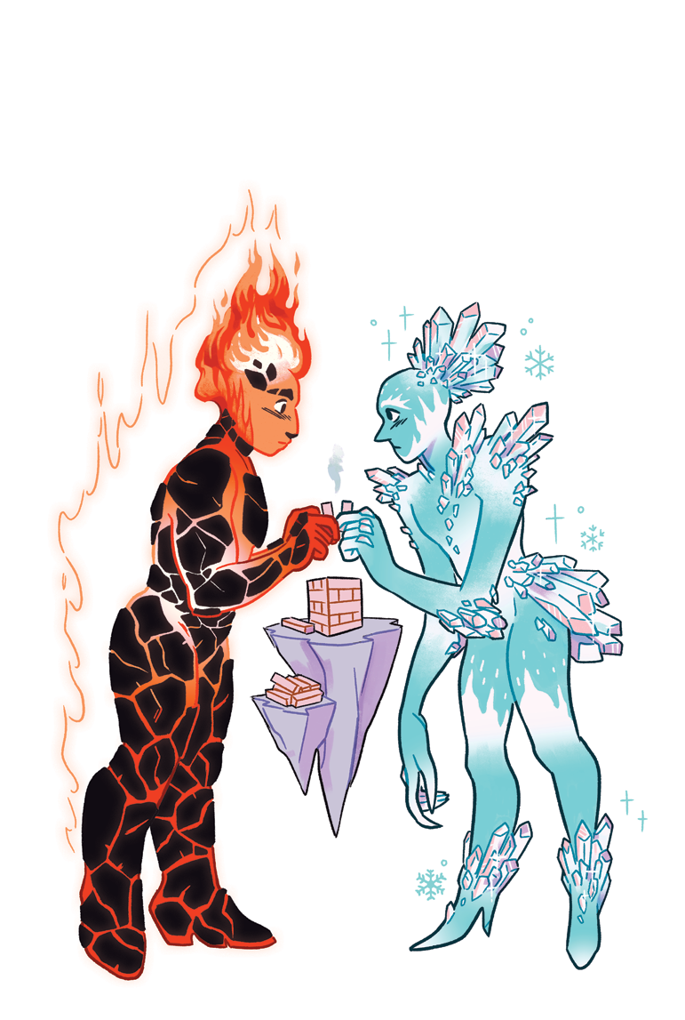 Fire and Ice Elementals Building Their Block Tower