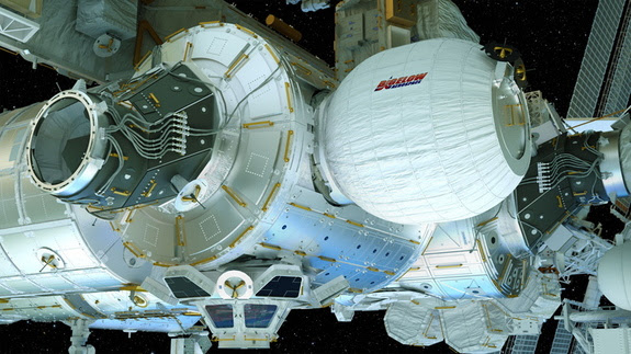 An artist's illustration of the Bigelow Expandable Activity Module (BEAM), built by Bigelow aerospace, attached to the International Space Station. BEAM is scheduled to launch toward the station aboard a Dragon cargo spacecraft on April 8.