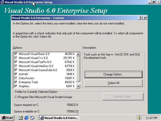 Picture of Visual Studio 6.0 Enterprise installation dialog