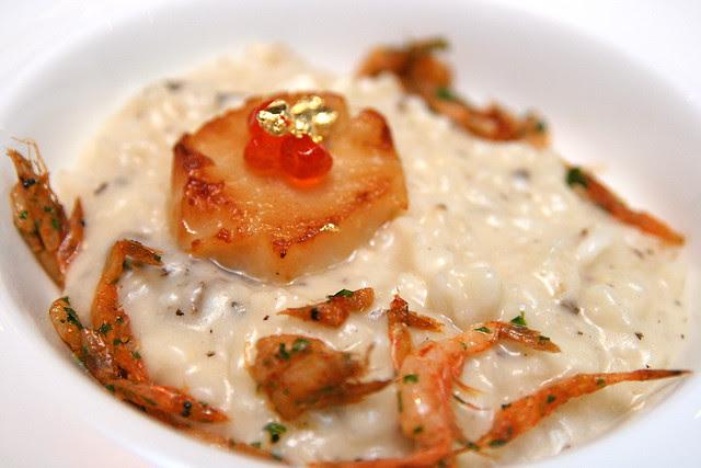 Degustation portion: Sakura Shrimp Risotto with Morel Mushroom Black Truffle Butter Ikura and Seared Hokkaido Scallop