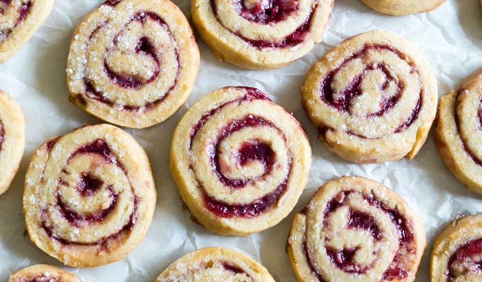 blackberry almond pinwheels : pretty swirled cookies, easy to make, and oh so good!