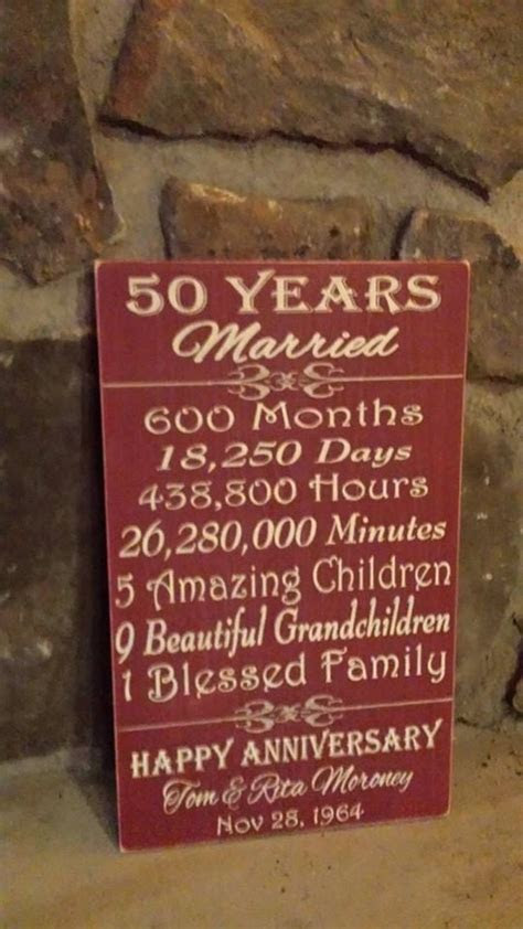 Personalized Milestone Anniversary plaque   For Mary To