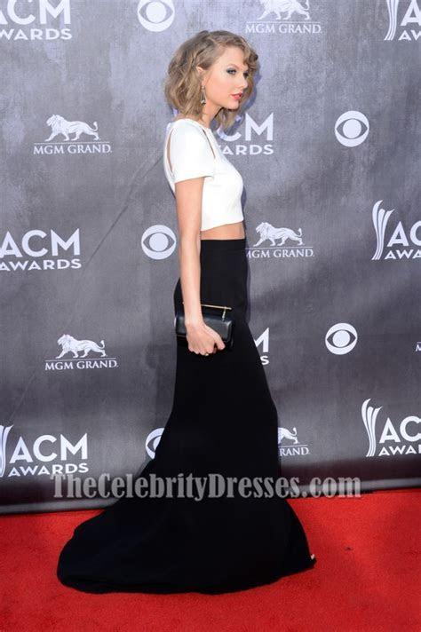 Taylor Swift White And Black Formal Dress 2014 ACM Awards