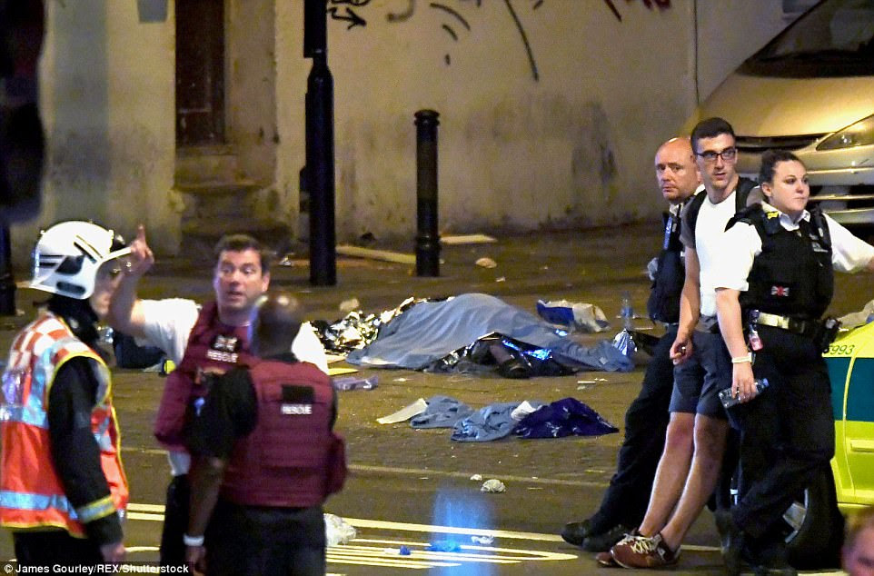A pile of blankets can be seen, amid fears that there may have been fatalities in the attack