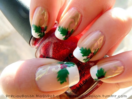 """christmas time is here♥ """"TUTORIAL: Christmas French Manicure"""" on preciouspolish.blogspot.com CLICK FOR VIDEO TUTORIAL"""