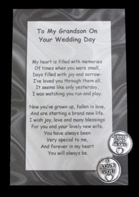 To Our Grandson on Your Wedding Day $4.00 This poem with a