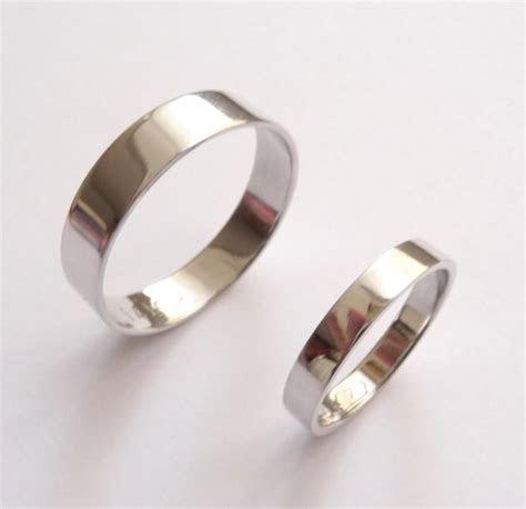 White Gold Wedding Band Set Women Wedding Ring Men Wedding