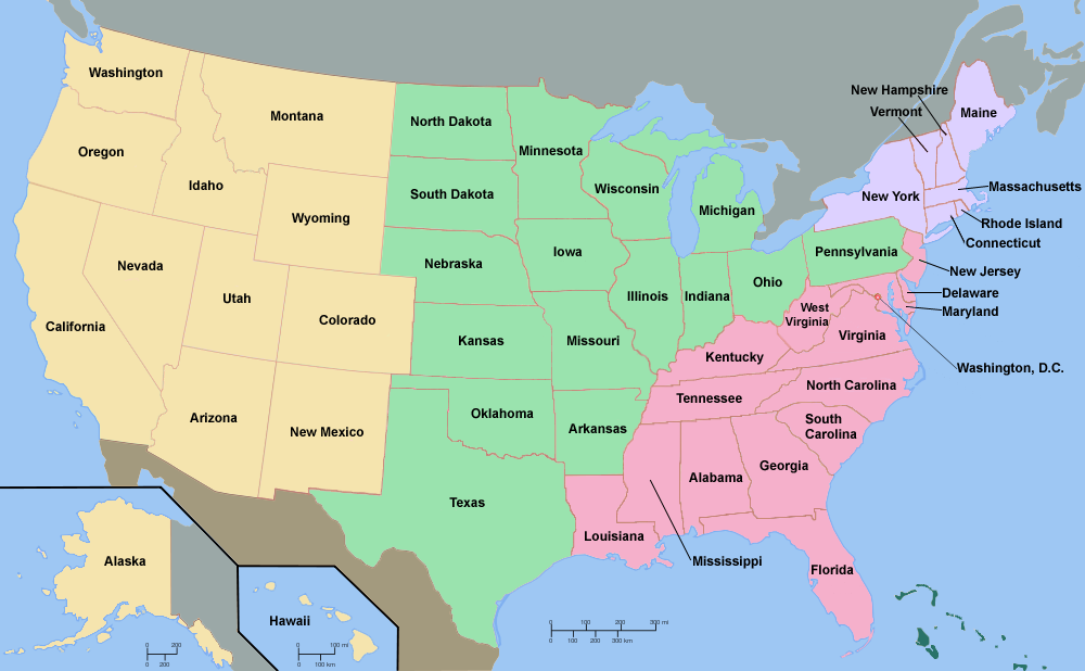 United States Northeast Region Map
