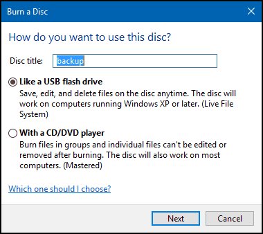 how to burn a video dvd in windows 10