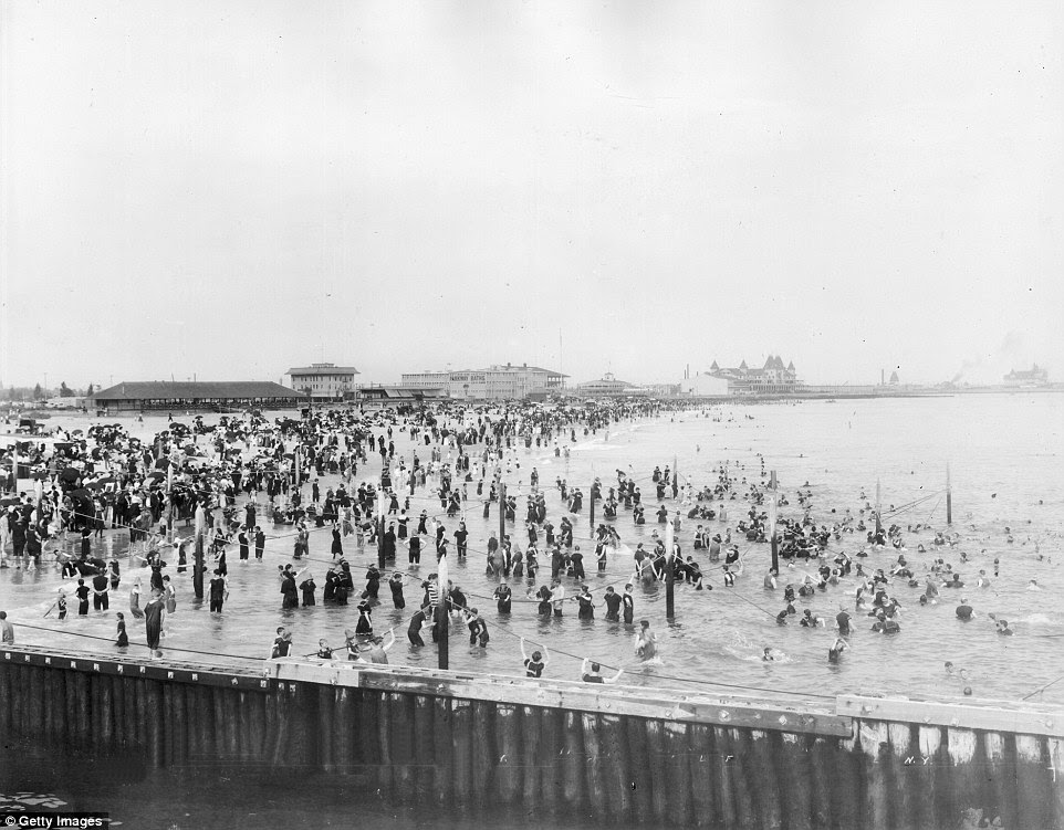 Beaches were packed in high summer in 1900 with swarms of lounging city dwellers heading into the water to cool off