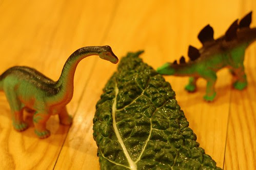 Dinosaurs eating dinosaur kale by Eve Fox, Garden of Eating blog, copyright 2013