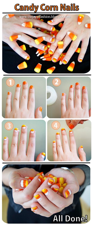 DIY Halloween: Candy Corn Nails tutorial
