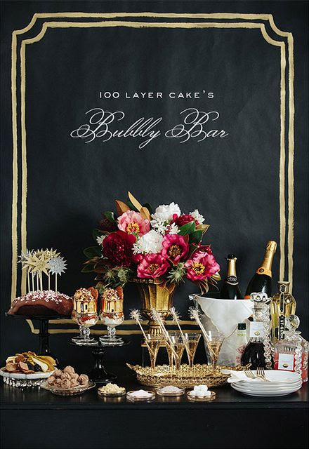100 Layer Cake's Bubbly Bar - perfect for a sumptuous celebration. Via A Glamourous Little Side Project - one of the most gorgeous blogs in the world...