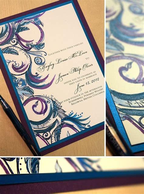 Purple and blue Wedding Invitations   Teal, Royal Blue