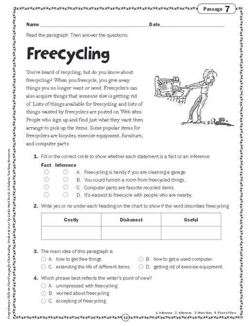 Prehension Skills Short Passages For Close Reading Grade 4