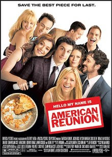 Group picture of the cast. Alyson Hannigan has a baby bottle in hand. The pie has only a small slice left.