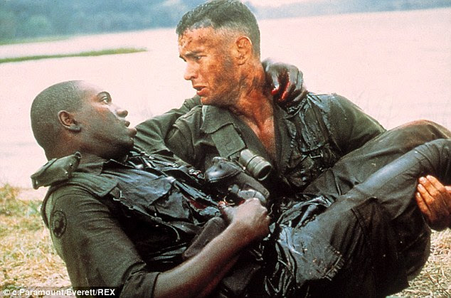 Poignant: One of the most moving scenes of the film was when Forrest rescued Gump and said: 'You got shot.' Bubba replied: 'I wanna go home.'