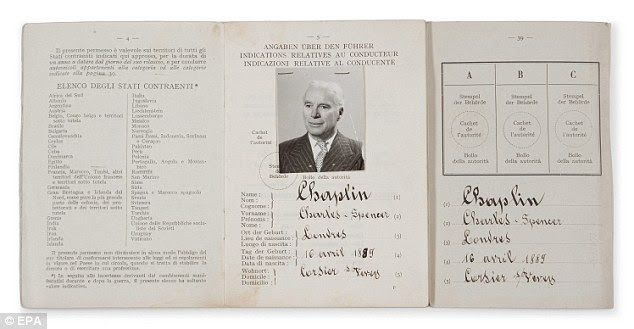 Charlie Chaplin's driver's license originating from family members and the Estate of Charlie Chaplin will go under the hammer in the Hollywood Legends sale