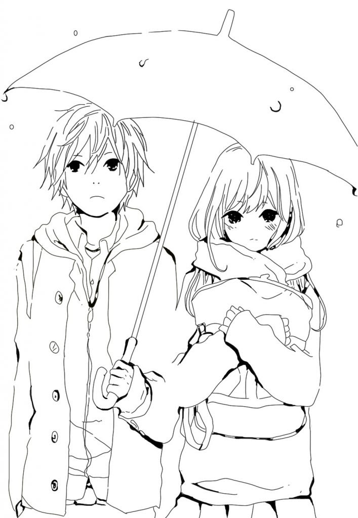 Cute Anime Couple Coloring Pages at GetDrawings | Free ...