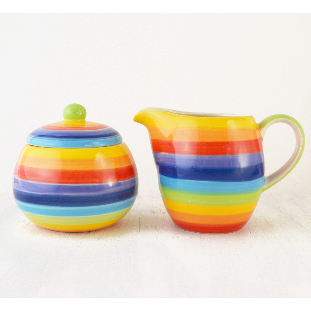 cream and sugar set, rainbow, hand painted ceramic rainbow colors