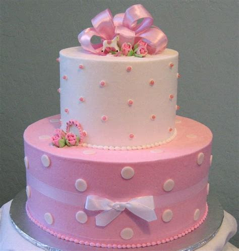 Pink Polka Dot Baby Shower Cake for baby girls.PNG (2
