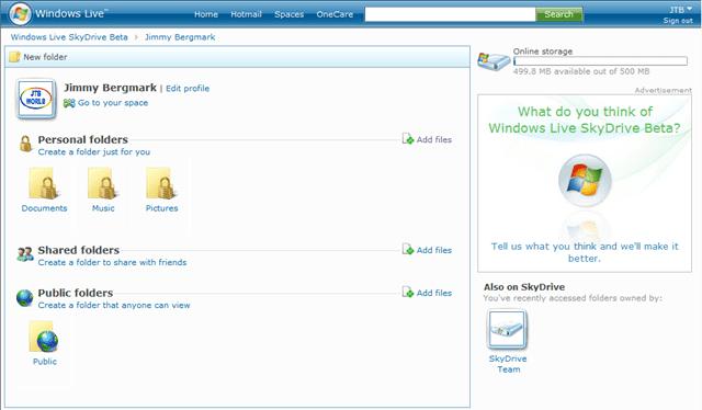 Windows Live SkyDrive Beta