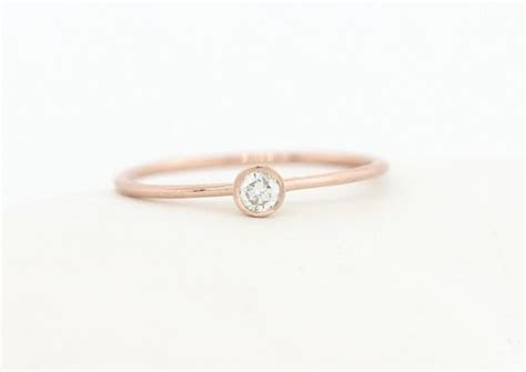 Round Brillaint Cut Diamond Engagement Ring, Rose Gold