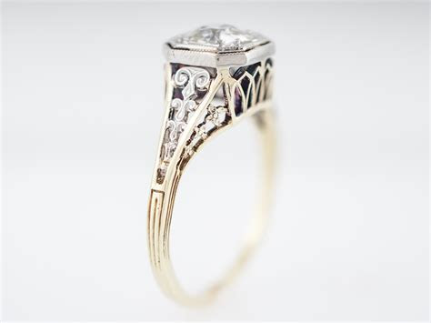 Antique Engagement Ring Art Deco .80 Old Mine Cut in 14k