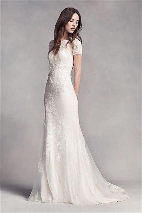 white  vera wang short sleeve lace wedding dress