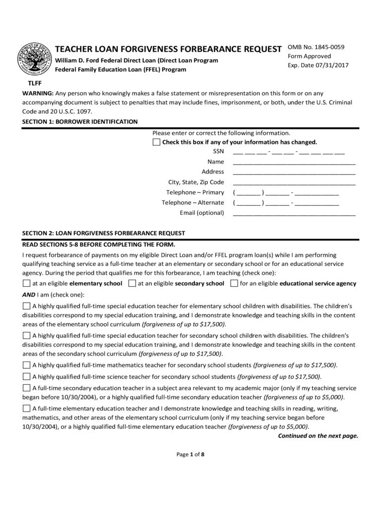 teacher loan forgiveness forbearance request form iowa d1