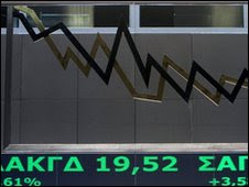 Stock prices at the Athens stock exchange - 23 April 2010