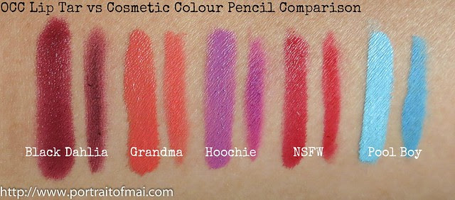 occ comparison lip tar pencils 1