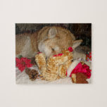 Cute akita dog christmas teddy asleep christmas jigsaw puzzle