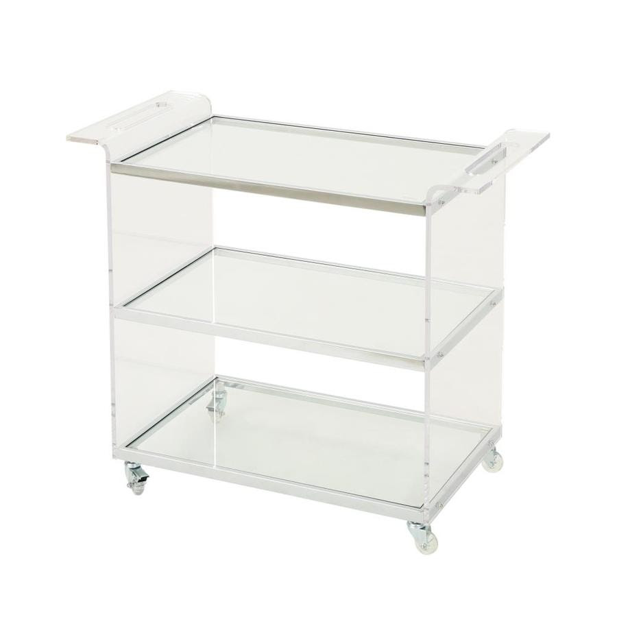 Best Selling Home Decor Yves Acrylic Bar Trolley With Glass Shelves Clear In The Kitchen Islands Carts Department At Lowes Com