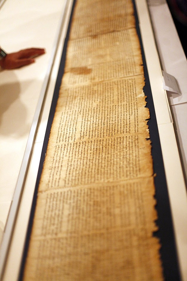 The first fragments of the scrolls - seen inside the vault of the Shrine of the Book building at the Israel Museum - were reportedly sold for under £10 by the shepherds who found them. Their value to scholars is incalculable