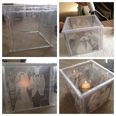 Photo Centerpiece made from CD cases hot glued together