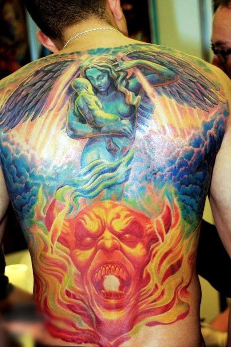 Heaven And Hell Religious Tattoo On Back Best Tattoo Ideas Gallery
