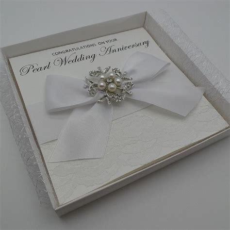 PEARL WEDDING ANNIVERSARY CARD 30 YEARS   HANDMADE BOXED