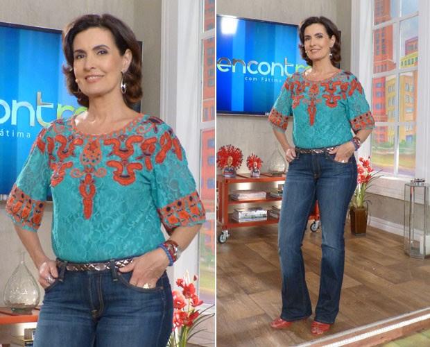 Fátima elogia look do programa de hoje:'Adoro o laranja da blusa' (Foto: Gshow/Encontro com Fátima)