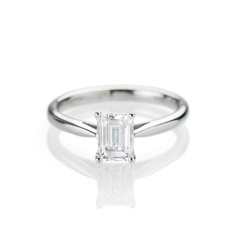 Magnificent Emerald Cut Diamond Engagement Ring in 18ct
