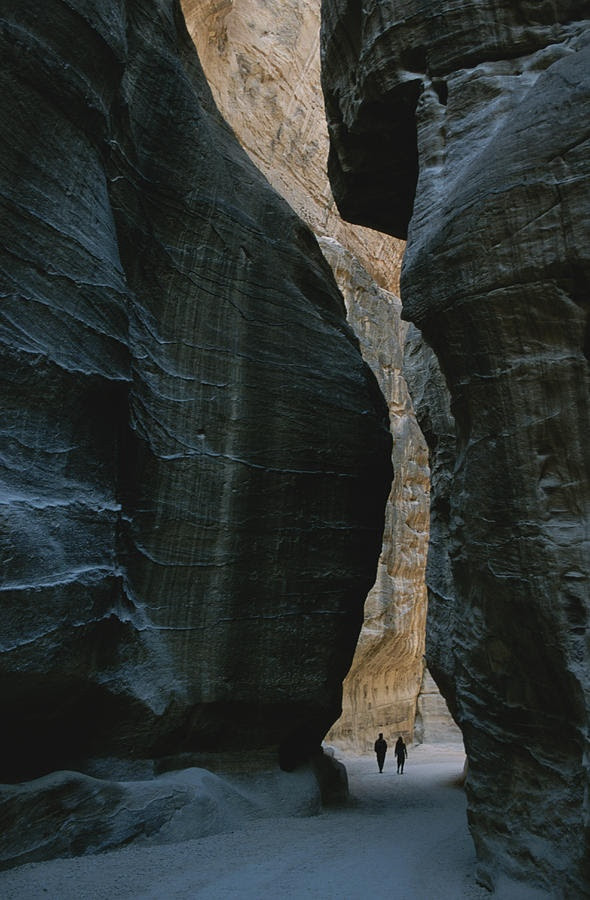 * Hikers in the Siq canyon leading to Petra