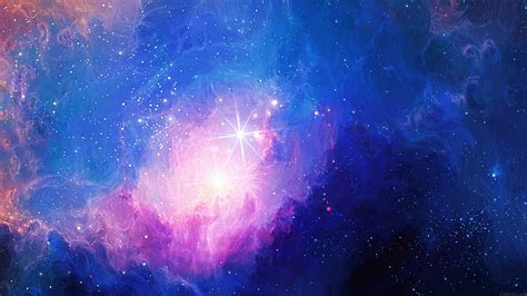 mn space aurora art star illust blue rainbow papersco
