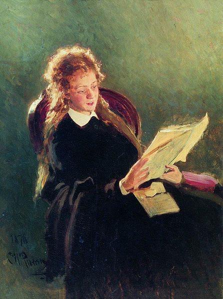 File:Reading girl by Repin.jpg