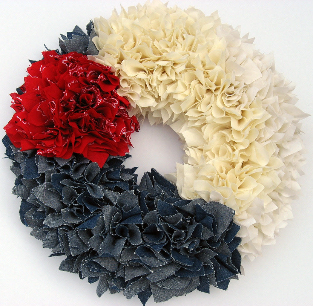 "Ready to Ship --- 15"" Handmade Zinnia Rag Wreath ---  Red, White & Blue"