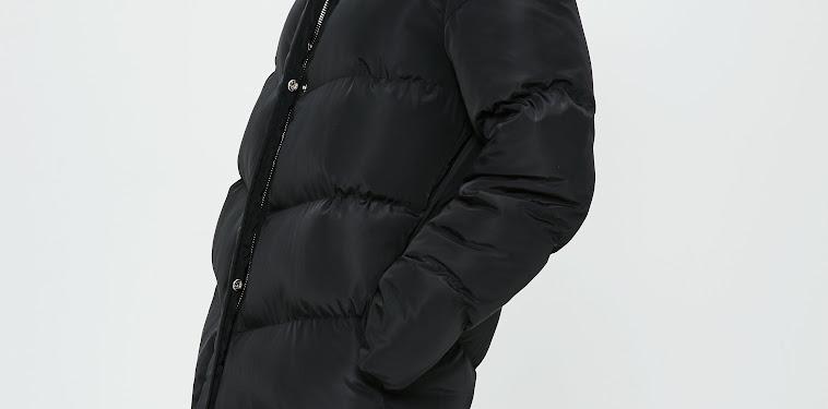 Black Longline Puffer Jacket Womens