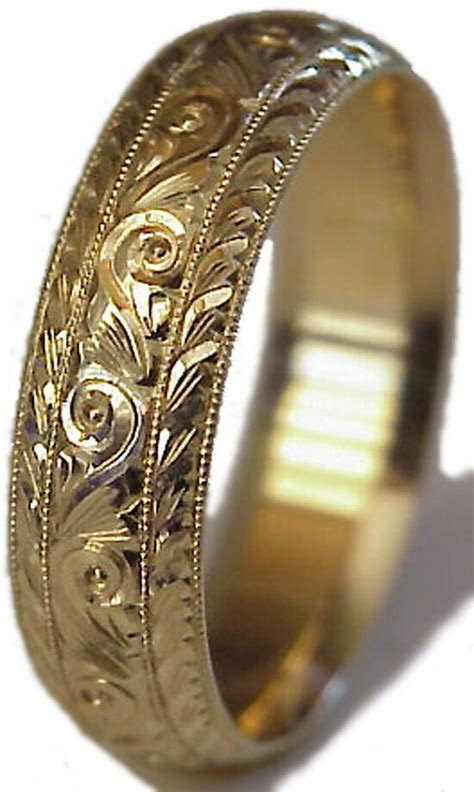 NEW! HAND ENGRAVED MEN'S 14K YELLOW GOLD 6MM WIDE WEDDING
